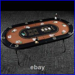 10 Player Poker Table Felt Top Folding Portable Card Game Room Casino Cup Holder