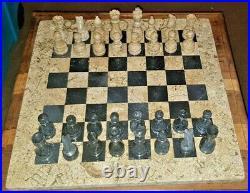 15 fossilstone & black zebra luxury table top chess set plus board storage box