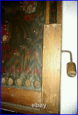 1800's ANTIQUE TABLETOP PINBALL GAME WOOD & PEG NAIL-HAND PAINTED ART WORK