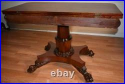 1820s Antique Federal Empire Mahogany flip-top Game table / console table