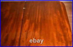 1840s Antique American Empire crotch mahogany flip top game table / console