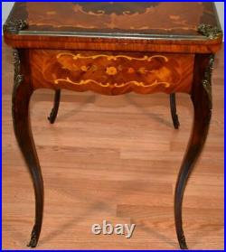 1900 Antique French Louis XV Walnut & Satinwood Inlaid Flip top Game Table