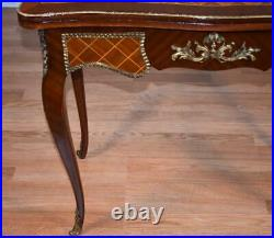 1910s Antique French Mahogany Satinwood Marquetry Inlay Flip top Game Table