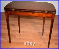 1940s English Regency style carved Mahogany flip-top game table / console
