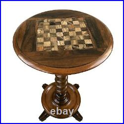 19th Century English Rosewood Games Table With Onyx Top