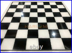 24 White Marble Square Handmade Chess Board Game Table Top Precious Gift H027
