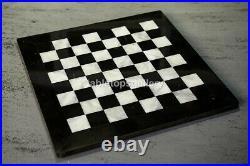 24x24 Black Marble Handmade Chess Board Table Top H002C