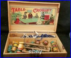 ANTIQUE VICTORIAN wooden TABLE TOP CROQUET SET game clean interior lithograph