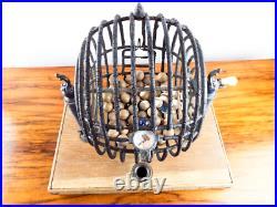 Antique 1920s Bingo Cage & Stand Gaming Balls Vintage Retro Tabletop Metal Games