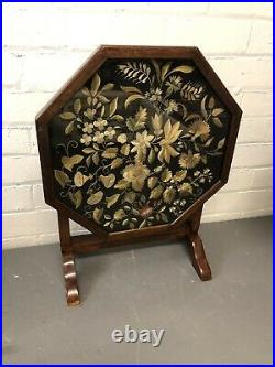 Antique Folding Side Table Tapestry Top Wood Frame Games Coffee Table