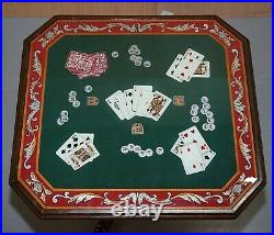 Antique William IV Style Mahogany Games Card Table Lovely Hand Painted Top