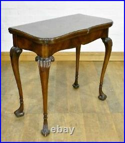 Antique vintage carved turn over top console tea table card games table