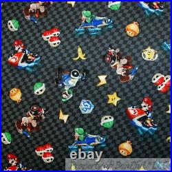 BonEful Fabric FQ Cotton Quilt Mario Brother Nintendo Game Super Hero Boy Check