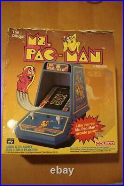 COLECO MS. PACMAN IN BOX Tabletop Electronic Game 1981 Mini Arcade MS. PAC-MAN