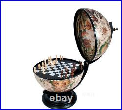 Chess Board Set with Pieces Hidden in Table Top Nautical Old World Wood 13 Globe
