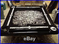 Domino Table with Gorgeous Gloss Black Frame & $100 Bills Table Top