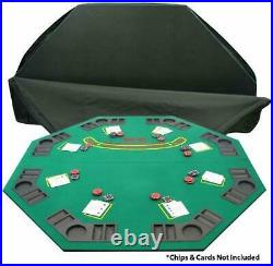 Folding Poker Card Game Table Top withCup Chip Holders Blackjack Indoor Games 48