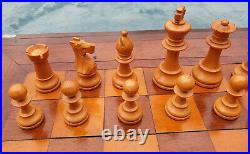 Huge Antique Chess Board 2 Squares Table Top Vintage Wooden Chess Set 97mm King