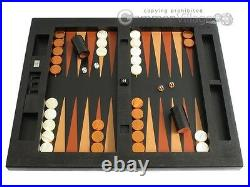 Large LEATHER TABLE TOP Backgammon Set Zaza & Sacci, Black Lizard, Board Game