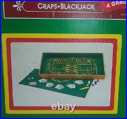 Las Vegas 4 in 1 Games Wood & Felt Craps Blackjack Roulette Baccarat Table Top