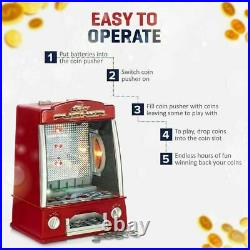 Mini Coin Pusher Arcade Style Game Tabletop Red Arcade Machine For Kids Gift