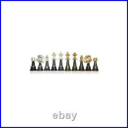 Solid Wood Chess Table with Beautiful Alabaster Top and Gold/Silver Coated Chess
