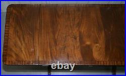 Stunning Large Occasional Games Table Extending Flamed Mahogany Top Twin Drawers