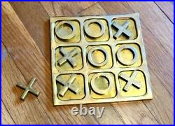TIC-TAC-TOE Table Top Game -Solid Brass X's and O's Vintage The Bomel Collection