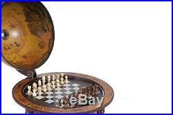 Unique Chess Board with Pieces Hidden in Wood Table Top Nautical Old World Globe
