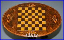 Victorian 1880 Walnut Marquetry Inlaid Chess Tilt Top Games Table Ornate Legs