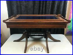 Vintage Coffee Table Lift Top Tray Felt Lined Wood Game 38 x 18.75 x 18.25