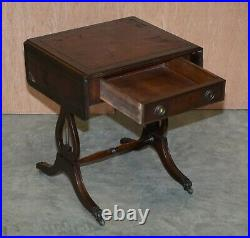 Vintage Distressed Oxblood Leather Side Table Extending Top Great Games Table