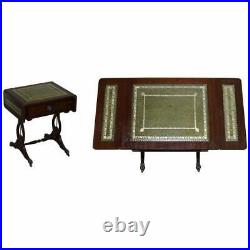 Vintage Green Leather Gold Leaf Side End Table Extending Top Great Games Table