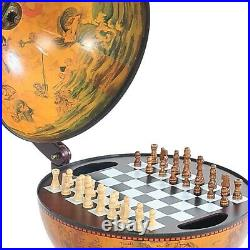 Vintage Tabletop Globe Chess Game Set