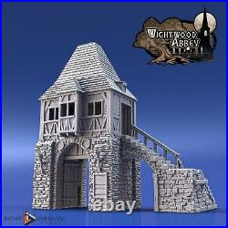 Wightwood Abbey Medieval Gatehouse Tower Tabletop Terrain Miniature RPG War Game