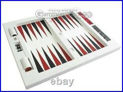 Zaza & Sacci Leather Table Top Backgammon Set 26 Large Board, White Croco